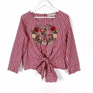 MissKoo Gingham and Embroidered Tie Front Top M